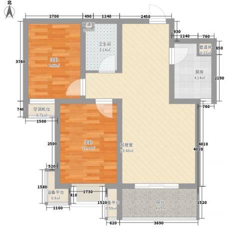 天逸城2室0厅1卫1厨84.00㎡户型图
