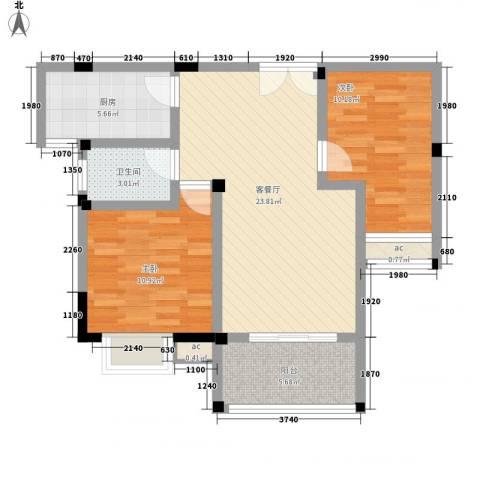 星盛家园2室1厅1卫1厨89.00㎡户型图