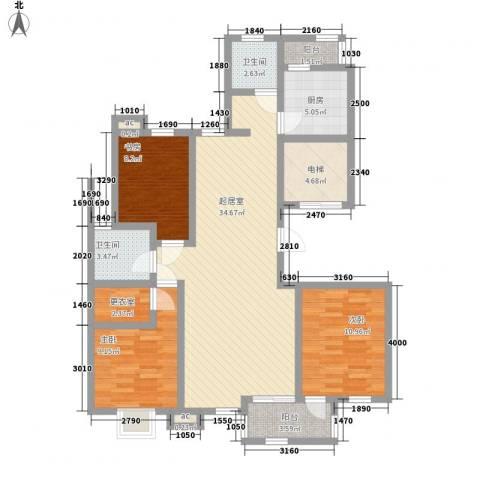 亿城山水颐园3室0厅2卫1厨132.00㎡户型图