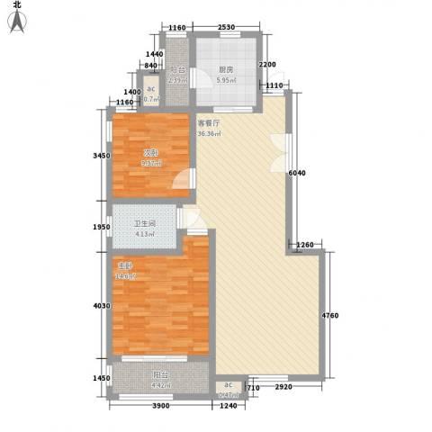 亿城山水颐园2室1厅1卫1厨102.00㎡户型图