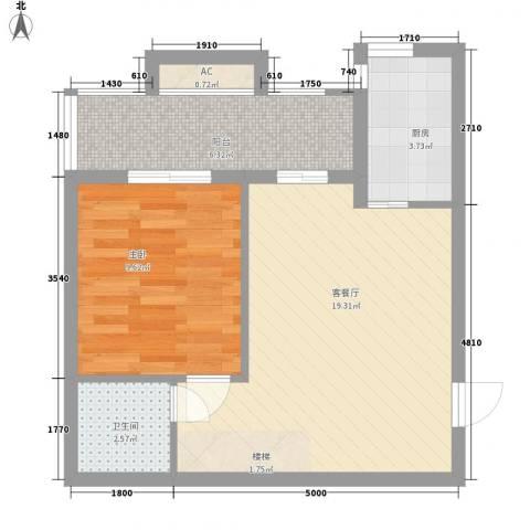玛雅上层1室1厅1卫1厨61.00㎡户型图