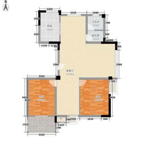 星盛家园2室1厅1卫1厨129.00㎡户型图