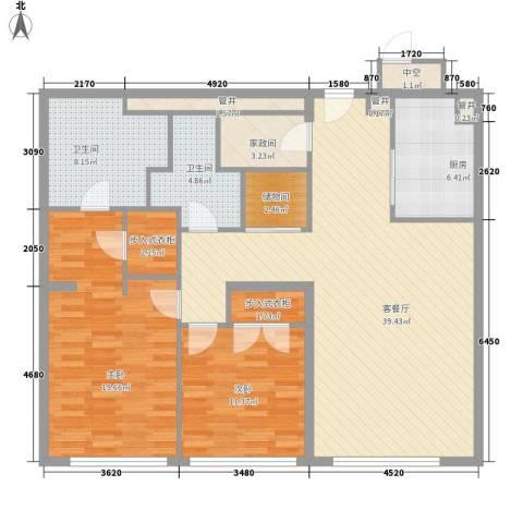 新地国际公寓苏寓2室1厅2卫1厨143.00㎡户型图