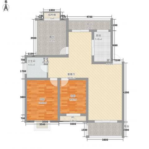 美兰湖颐景园2室1厅1卫1厨98.00㎡户型图