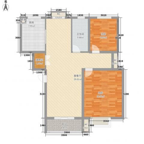 伯爵山庄2室1厅1卫1厨100.00㎡户型图