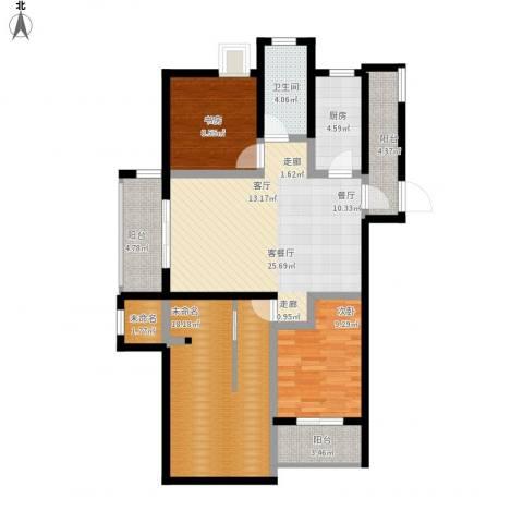 金域华府2室1厅1卫1厨125.00㎡户型图