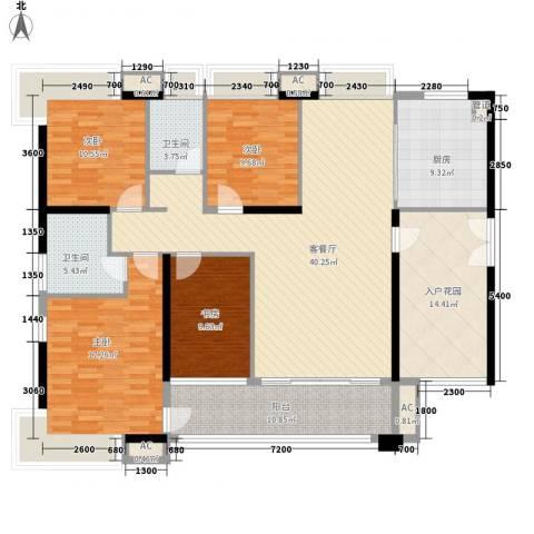 天利中央花园4室1厅2卫1厨147.00㎡户型图