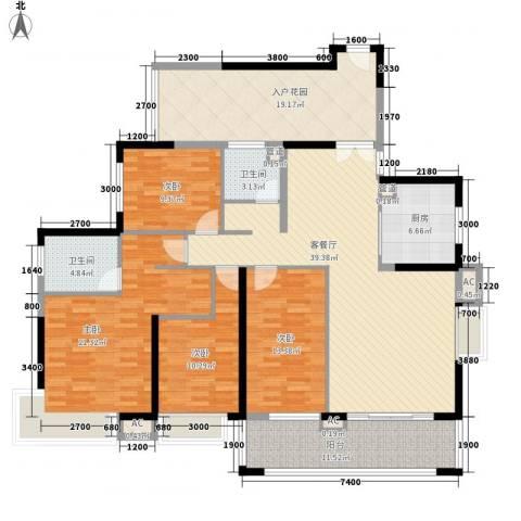 天利中央花园4室1厅2卫1厨143.00㎡户型图