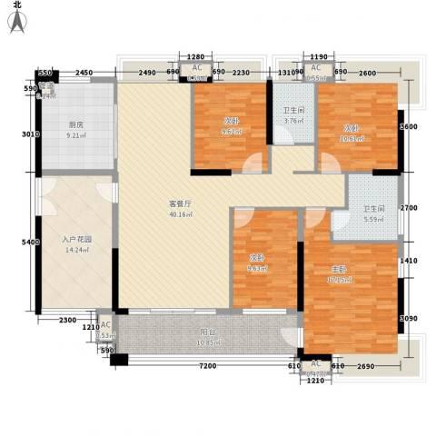 天利中央花园4室1厅2卫1厨149.00㎡户型图