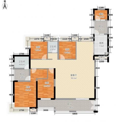 天利中央花园5室1厅2卫1厨184.00㎡户型图