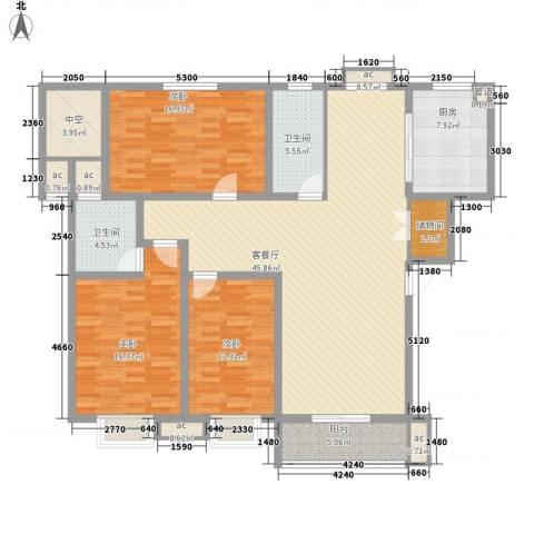伯爵山庄3室1厅2卫1厨135.00㎡户型图