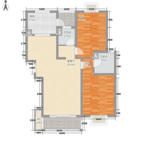 美兰湖颐景园2室1厅2卫1厨103.00㎡户型图
