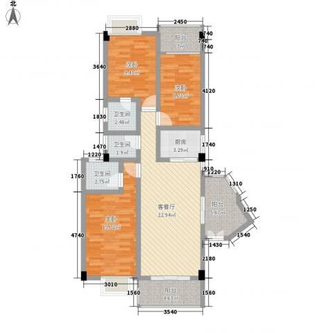 富德居3室1厅3卫1厨116.00㎡户型图