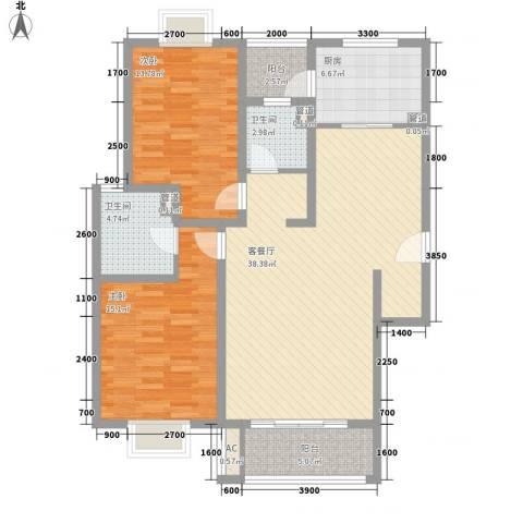 美兰湖颐景园2室1厅2卫1厨108.00㎡户型图