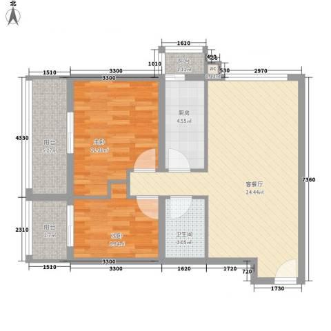 百家湖别墅花园2室1厅1卫1厨86.00㎡户型图