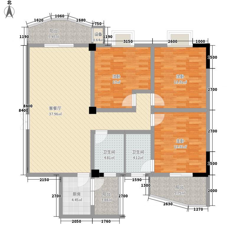 雅戈尔东湖花园户型3室2厅2卫1厨