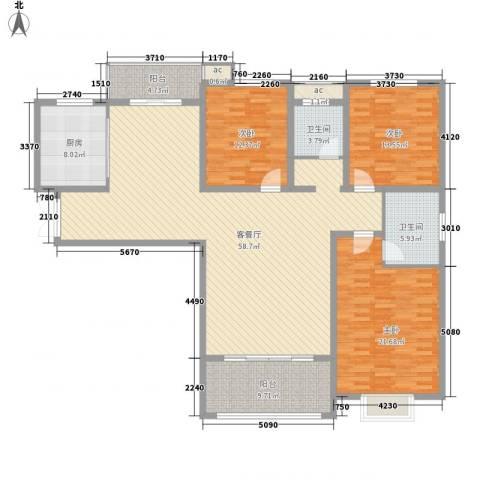 港岛玫瑰园3室1厅2卫1厨158.00㎡户型图