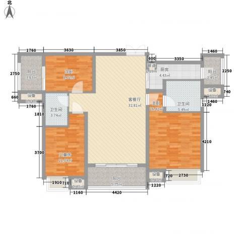 城市阳光花园3室1厅2卫1厨97.00㎡户型图