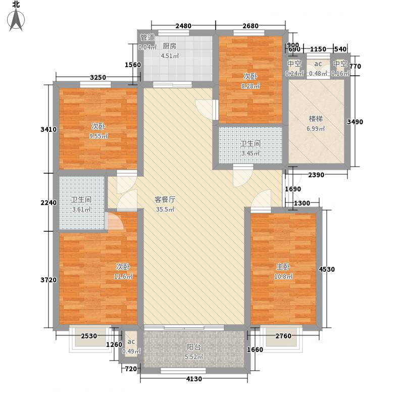 文博锦苑148.62㎡H户型4室2厅2卫1厨