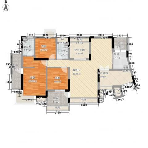 保利星座3室1厅2卫1厨136.00㎡户型图