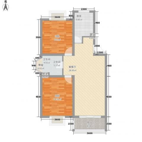 美兰湖颐景园2室1厅1卫1厨90.00㎡户型图