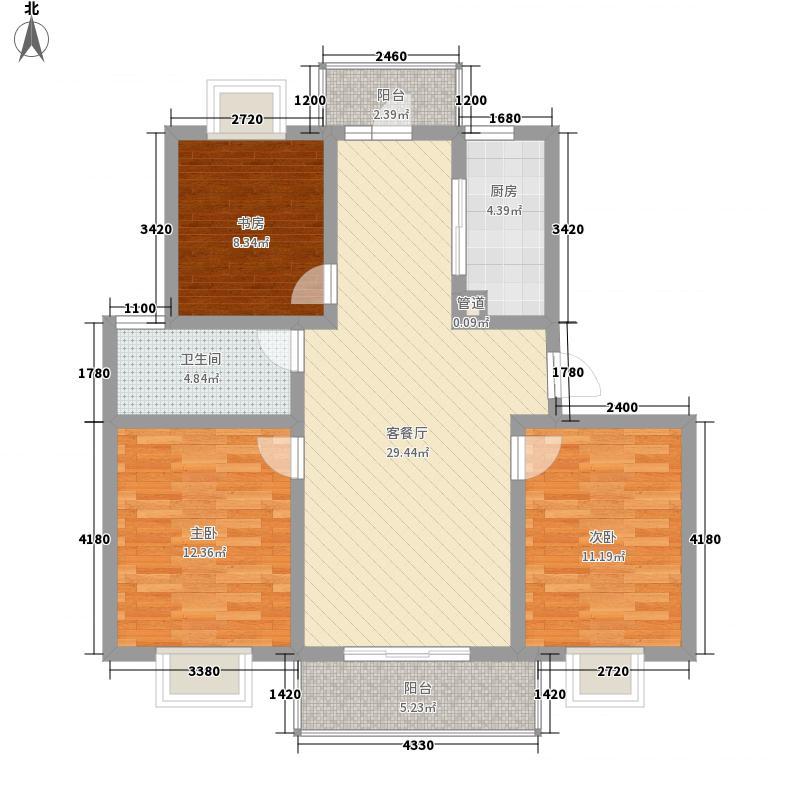 淮左郡庄园112.70㎡小高层户型3室2厅1卫