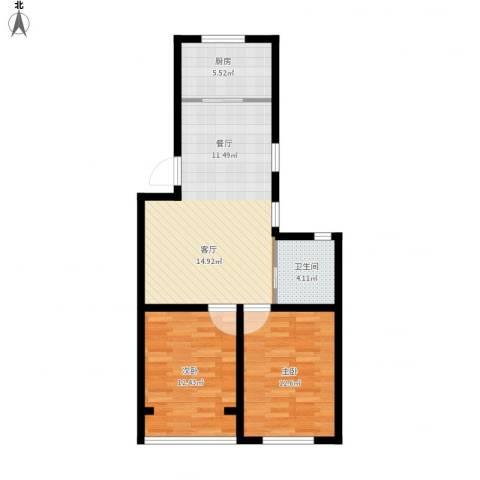 春港丽园2室1厅1卫1厨84.00㎡户型图