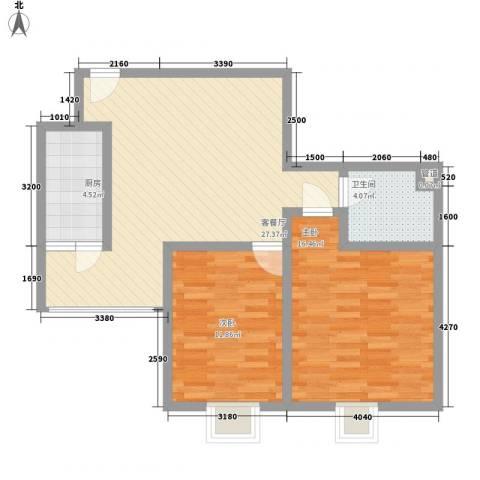 优派对2室1厅1卫1厨160.00㎡户型图