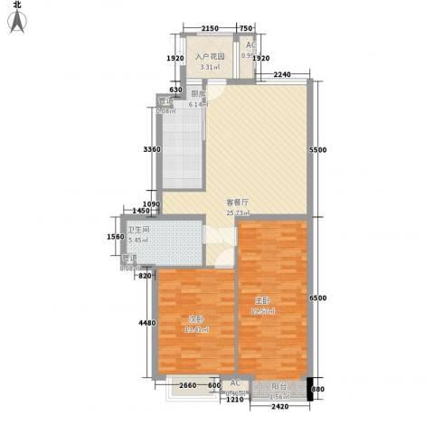 荣御原上园2室1厅1卫1厨108.00㎡户型图