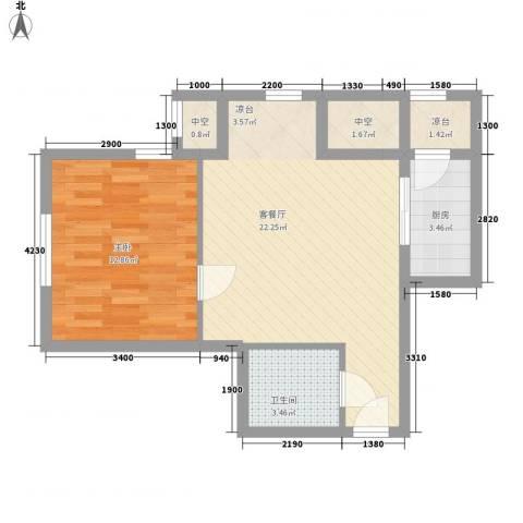 水云台1室1厅1卫1厨53.29㎡户型图