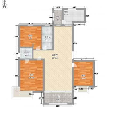 恒盛皇家花园3室1厅2卫1厨109.00㎡户型图
