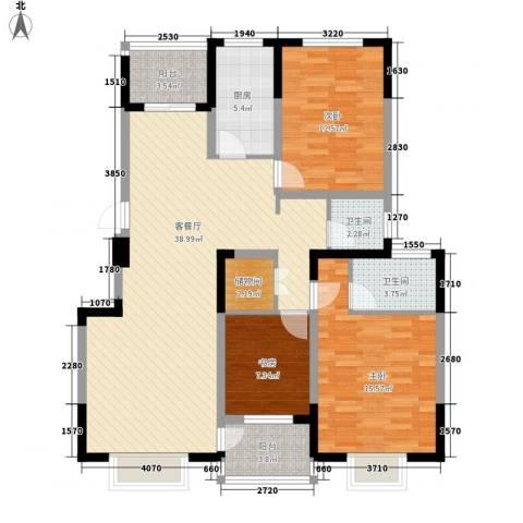 兴达绿郡3室1厅2卫1厨137.00㎡户型图