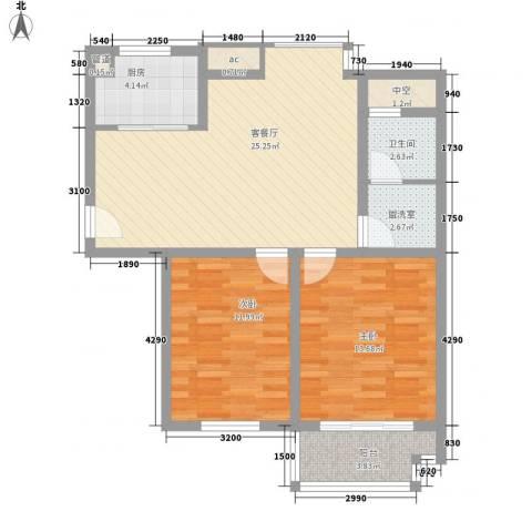 旺府公寓2室1厅1卫1厨94.00㎡户型图