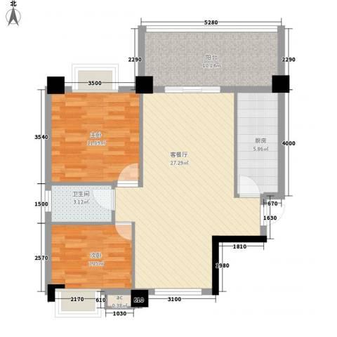 紫荆花园四期2室1厅1卫1厨73.60㎡户型图