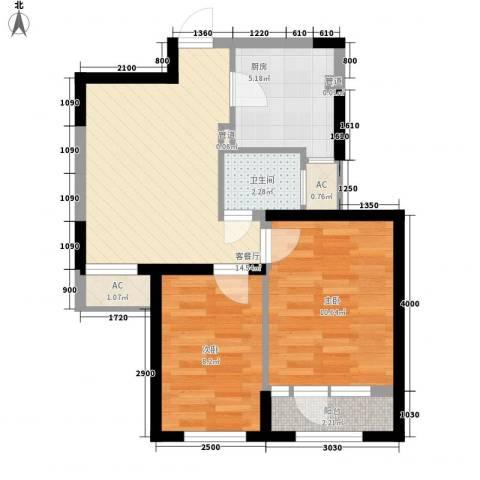 首创光和城2室1厅1卫1厨66.00㎡户型图