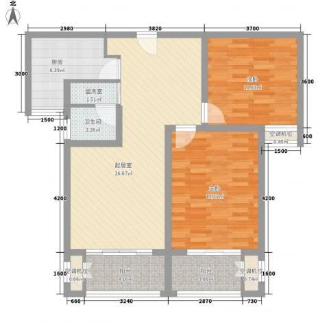 泉山逸品2室0厅1卫1厨73.44㎡户型图