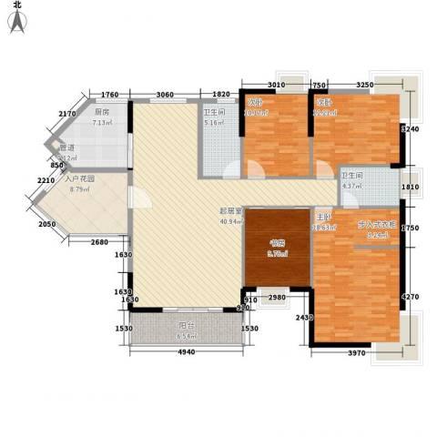 皇家公馆4室0厅2卫1厨140.00㎡户型图