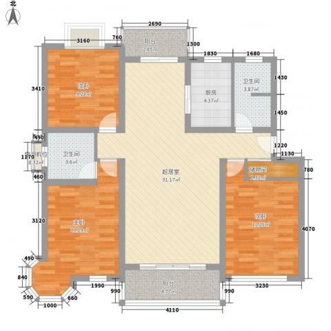 凤凰城3室0厅2卫1厨126.00㎡户型图