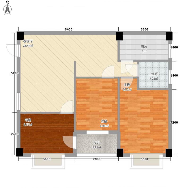 尚城国际8.14㎡一期高层D户型2室2厅1卫1厨