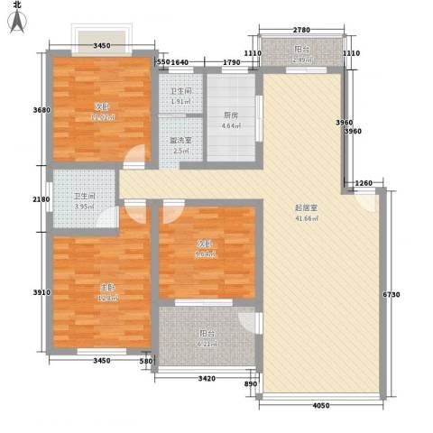 凤凰城3室0厅2卫1厨136.00㎡户型图