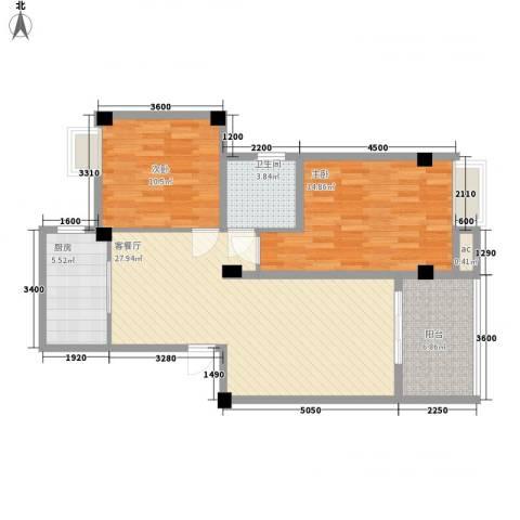 尚城国际2室1厅1卫1厨69.93㎡户型图
