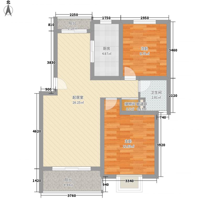凤凰城89.84㎡二期多层69#楼E2户型2室2厅1卫1厨