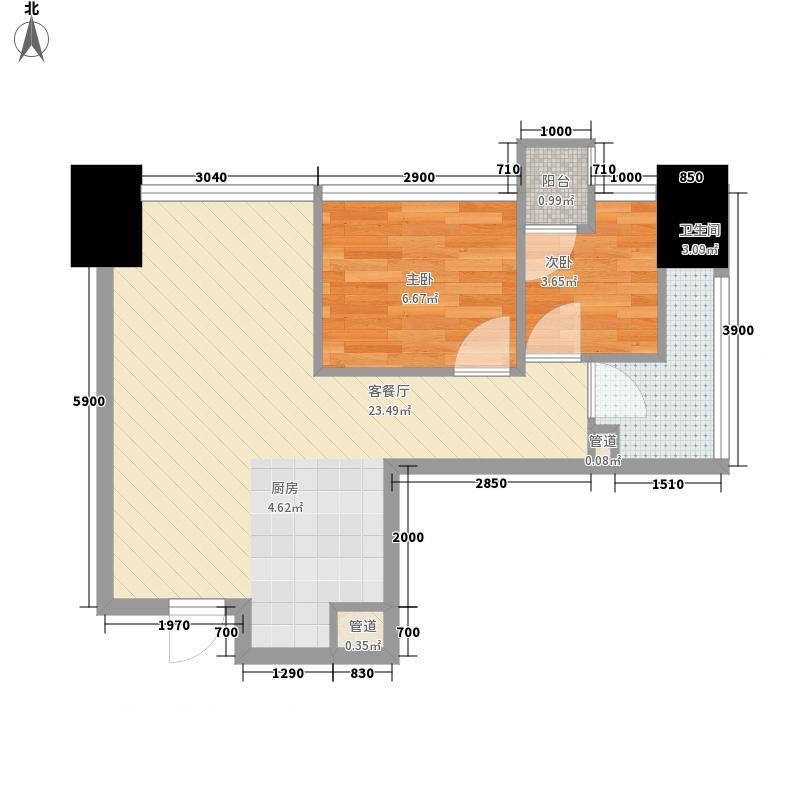 因特摩尔58.00㎡因特摩尔户型图2#楼B2户型2室2厅1卫1厨户型2室2厅1卫1厨