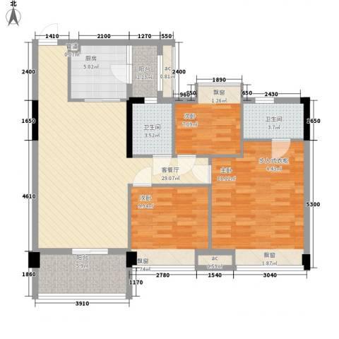 大自然广场3室1厅2卫1厨86.07㎡户型图