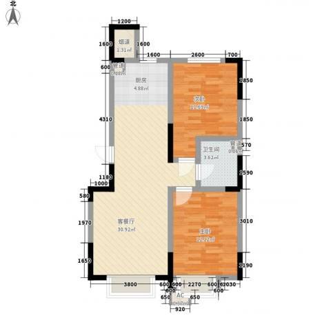 力旺美林2室1厅1卫0厨87.00㎡户型图