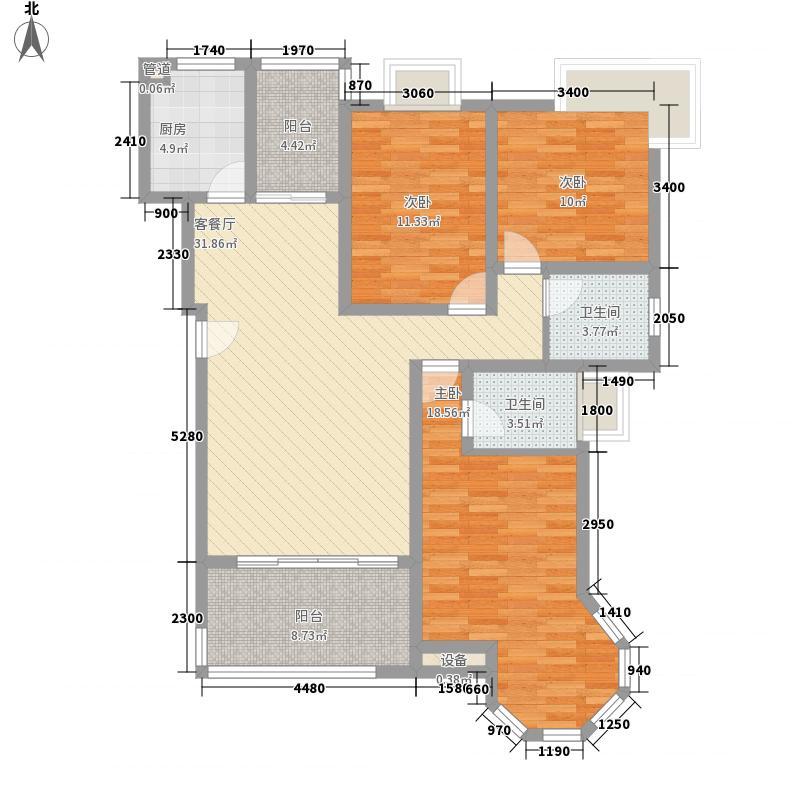 锦嘉汇景城142.22㎡一期6号楼2户型3室2厅2卫1厨