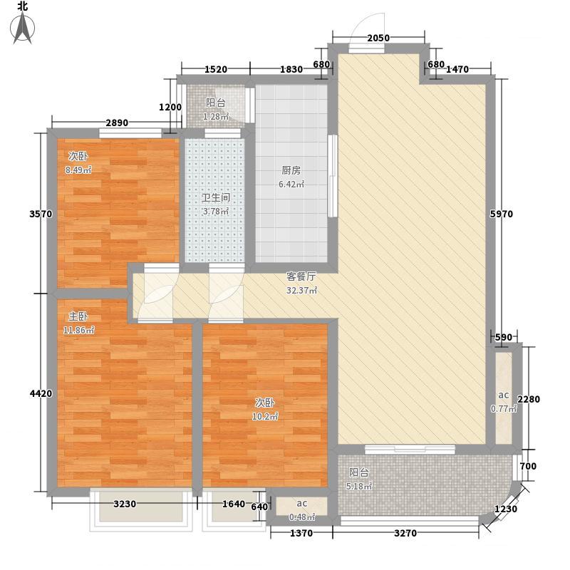 宝丽阳光国际117.00㎡高层F户型3室2厅1卫