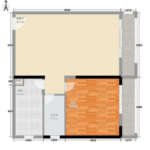 岭秀城1室1厅1卫1厨105.00㎡户型图