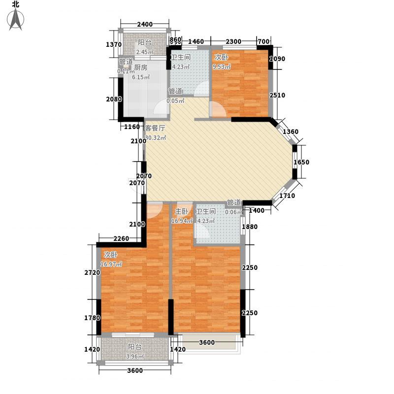 福港・好莱坞128.72㎡泰坦尼克号3户型3室2厅2卫1厨