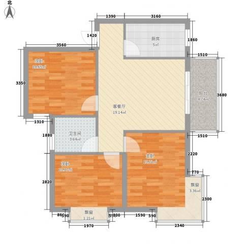 枫桥水岸3室1厅1卫1厨94.00㎡户型图